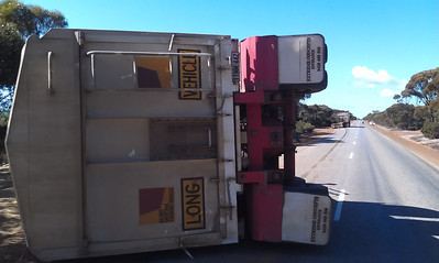 Trailer rolled over on the Ravensthorpe to Lake King road on 30th July at about 11am. Driver OK.