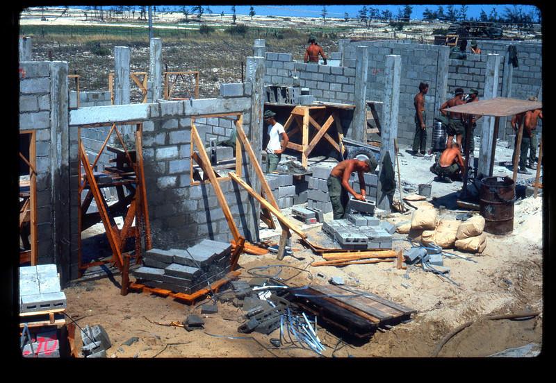 CBMU-301 Masonry Crew at Cua Viet-1970<br /> Housing for Vietnamese Sailors and Families