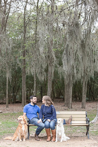 fun winter engagement session near Houston Texas with couple's dogs