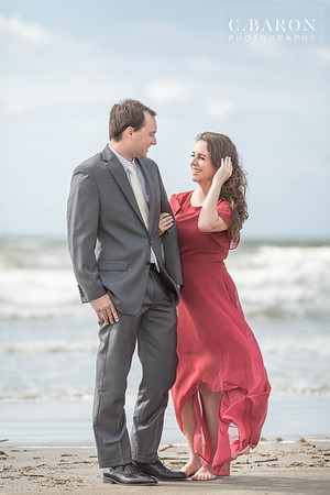 Pretty summer engagement session on the beach in Galveston Texas