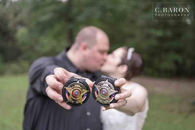Two law enforcement officers have an intimate Star Wars themed wedding in their private residence
