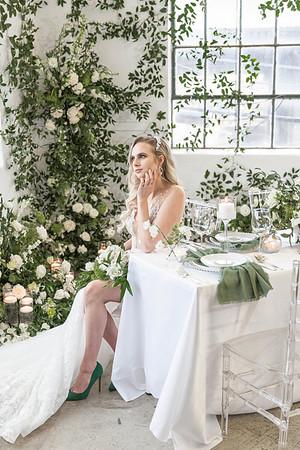 White and green garden inspirational wedding at Studio HTX in Houston, Texas