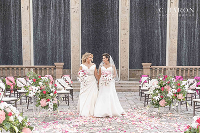 Stunning same sex marriage with a pink and white theme at The Bell Tower on 34th in Houston, Texas