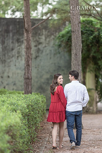 Pretty engagement session with dog at Hermann Park in Houston, Texas.