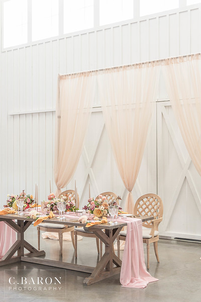 Pretty wedding inspiration with blush and orange at The Farmhouse in Montgomery Texas
