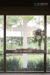 Pandemic Intimate wedding in pretty glass chapel at St. Martins Episcopal in Houston Texas