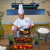 Once Chuck saw the colorful mini Bell Peppers, he had the chef chop and introduce those to the simulated omelet making.