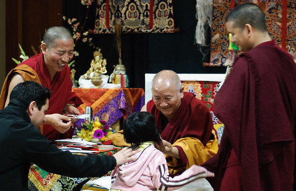 Rinpoche & little girl at Gyuto Center's White Tara Empowerment