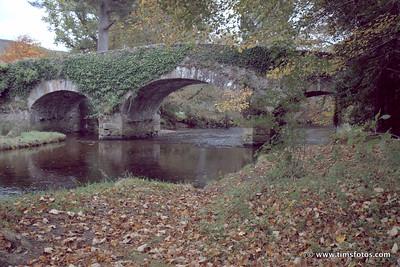 Derrybawn Bridge, river bank foreground