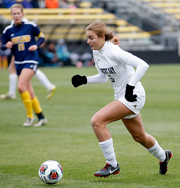 Cincinnati Country Day forward moves the ball against Kirtland during their Division III Championship soccer game at MAPFRE Stadium in Columbus Friday, Nov. 9, 2018.