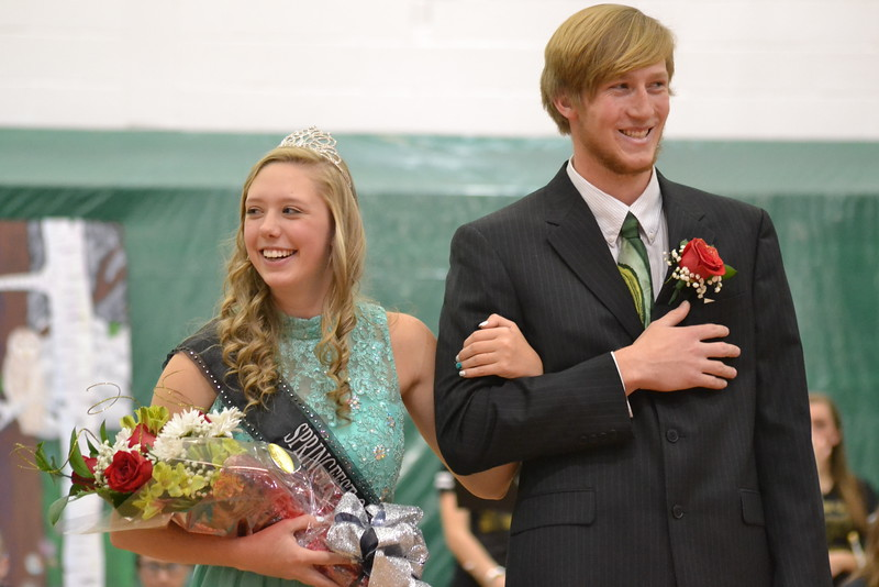 Canon City High School senior Erica Stoner was crowned the 2016 Springfest Queen on Friday during an assembly in the Tiger Dome. She is escorted by Dylan Allbrandt, who was named Mr. CCHS during the third annual Mr. CCHS Pageant Feb. 25. Carie Canterbury/Daily Record 3-4-16
