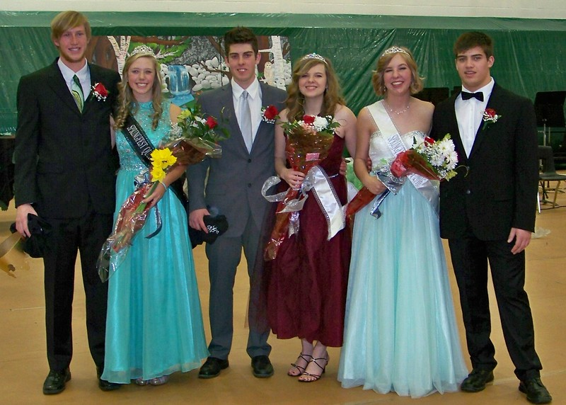 "Canon City High School's 2016 Springfest Court was named Friday's assembly at the school. Pictured from left to right are seniors Dylan Allbrandt, Mr. CCHS 2016, Erica Stoner, Springfest Queen,  Cameron Brosh, Bethanny Lyons, Katie Johnson and Nick Snyder. The dance will be held Saturday night in the TIget Dome. For more photos from Friday's assembly, see page 3B or visit  <a href=""http://www.canoncitydailyrecord.com"">http://www.canoncitydailyrecord.com</a>. Carie Canterbury/Daily Record"