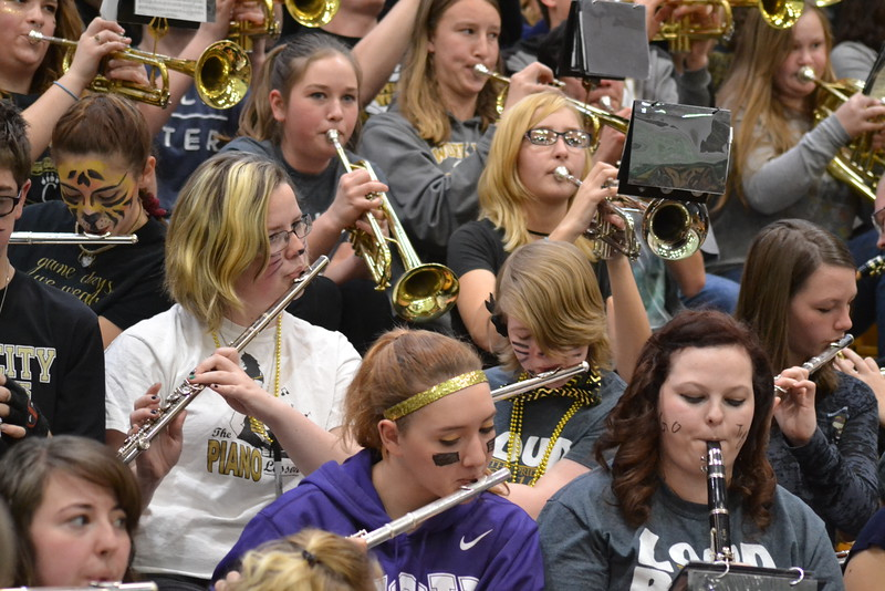 Canon City High School Tiger Pride Band plays as students exit an assembly Friday in the Tiger Dome. Carie Canterbury/Daily Record 3-4-16