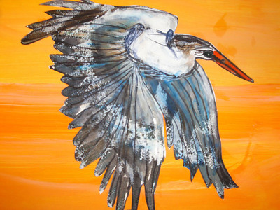 Great Blue Heron by Milayla Flowers, Gilmore Elementary School