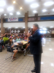 Dr. Smith stopped by Clear Lake Intermediate the first week of school.