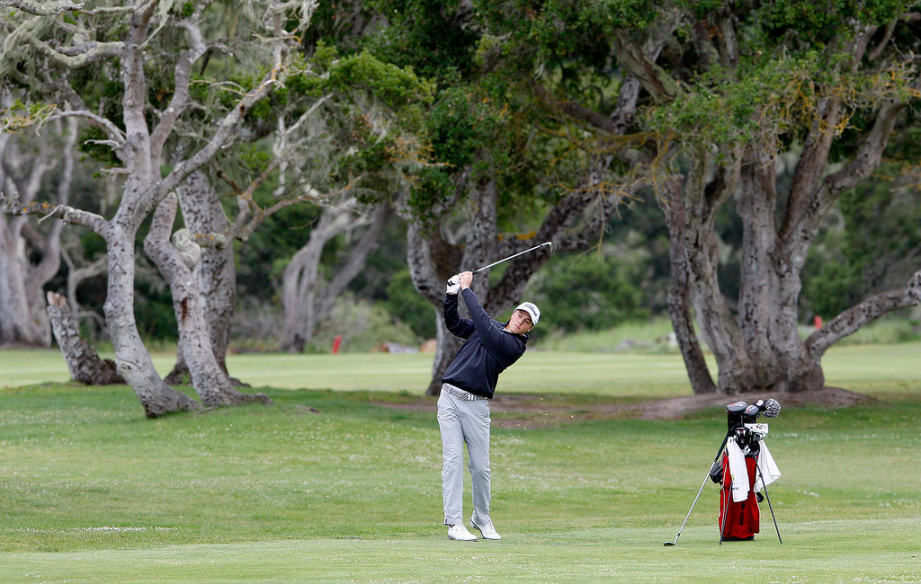 . George McNeely from Carmel High on the fourth-hole at Laguna Seca Golf Ranch during the CCS Golf Championships on Tuesday, May 16, 2017.   (Vern Fisher - Monterey Herald)