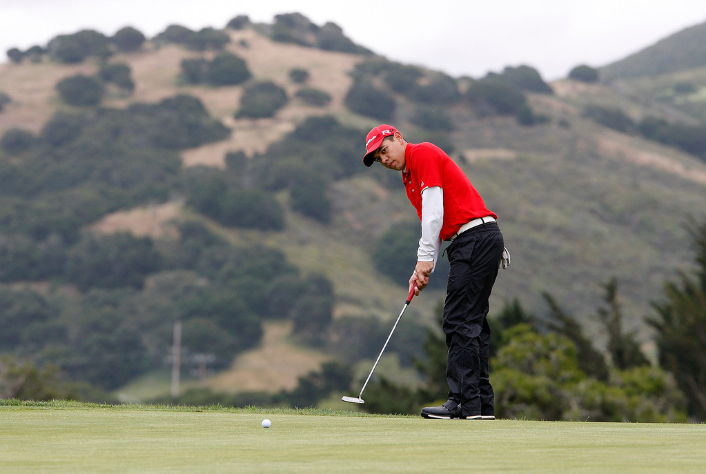 . Joey Burlison from Palma putts on the fourth-hole at Laguna Seca Golf Ranch during the CCS Golf Championships on Tuesday, May 16, 2017.   (Vern Fisher - Monterey Herald)