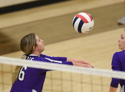 CCS's Stella Gorton sets the ball during the Royals' match against Oklahoma Christian School, Saturday, Oct. 10, 2020, at Blanchard High School. (Kyle Phillips / The Transcript)