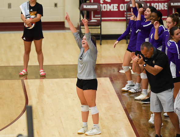 CCS's Sydney Burks celebrates a point during the Royals' match against Oklahoma Christian School, Saturday, Oct. 10, 2020, at Blanchard High School. (Kyle Phillips / The Transcript)