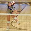 CCS's Sydney Burks sets the ball during the Royals' match against Oklahoma Christian School, Saturday, Oct. 10, 2020, at Blanchard High School. (Kyle Phillips / The Transcript)