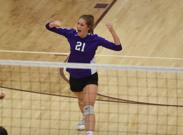 CCS's Victoria Gray celebrates a point during the Royals' match against Oklahoma Christian School, Saturday, Oct. 10, 2020, at Blanchard High School. (Kyle Phillips / The Transcript)