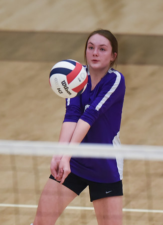 CCS's Caroline Bell sets the ball during the Royals' match against Oklahoma Christian School, Saturday, Oct. 10, 2020, at Blanchard High School. (Kyle Phillips / The Transcript)
