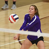 CCS's Victoria Gray sets the ball during the Royals' match against Oklahoma Christian School, Saturday, Oct. 10, 2020, at Blanchard High School. (Kyle Phillips / The Transcript)