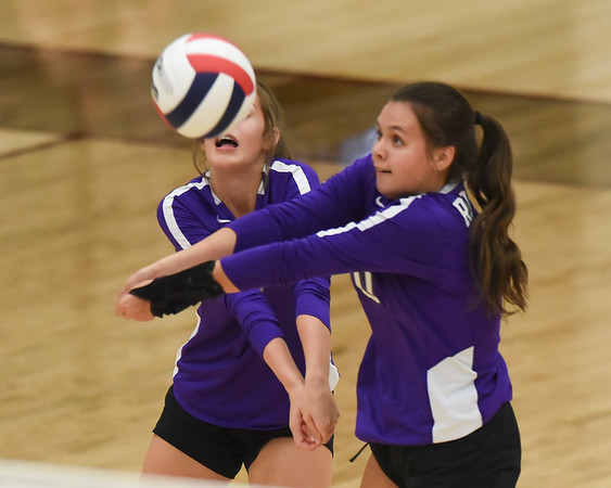 CCS's Ava Little sets the ball during the Royals' match against Oklahoma Christian School, Saturday, Oct. 10, 2020, at Blanchard High School. (Kyle Phillips / The Transcript)