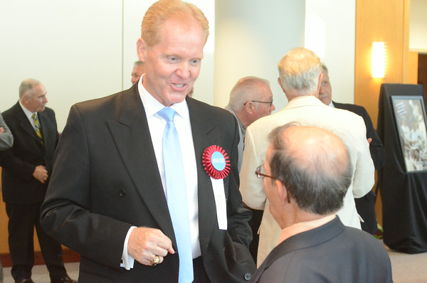 Former Cleveland Indians pitcher and Cambria County Sports Hall of Fame 2014 inductee Tom McGough (left) speaks with former Pitt-Johnstown registrar Tom Kleban.