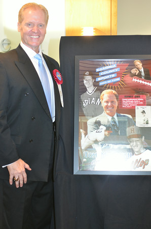 Former Cleveland Indians pitcher and Cambria County Sports Hall of Fame 2014 inductee Tom McGough poses with his commemorative poster.