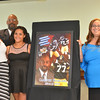 Cambria County Sports Hall of Fame inductee Carlton Haselrig (back left) poses with his family: (from left) Daughters Carlee and Cantara, wife Michelle and son Carlton Jr. Haselrig was honored again in 2014 for his time with the Pittsburgh Steelers.