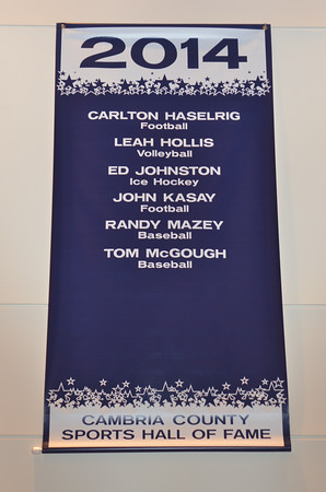 The banner featuring the names of the six 2014 inductees to the Cambria County Sports Hall of Fame is displayed in the Pasquerilla Conference Center.