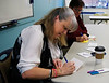 HOLLY PELCZYNSKI - BENNINGTON BANNER Katharine Cooper of Bennington writes letters to Veterans during a More Love Letters letter-writing party held at CCV.