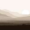 Lifeless landscape with huge mountains over sun.