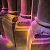 Light from stained glass window and column