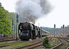 The lure of steam.................475.101 now leading 475.196 as they depart Luzna for Zatec. 26th June 2010