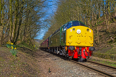 Spring has sprung on the East Lancashire Railway as 40106 steam heats the 11.05 Rawtenstall to Heywood as it leaves Summerseat on 25th March 2017.
