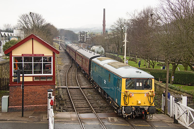 73001 draws into Ramsbottom Station with the stock for the 13.22 local service to Bury.  ELR Diesel gala 18th February 2017.