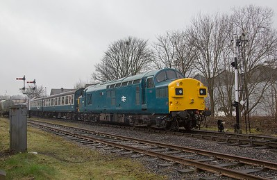 EE Type 3 No. 37109 draws away from Ramsbottom with the  09.45 Heywood - Rawtenstall.  ELR Diesel gala 19th February 2017