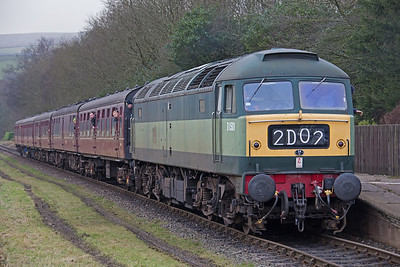 D1501 stands at Irwell Vale in charge of the 14.05 service from Heywood to .  ELR Diesel gala 18th February 2017. This is my favourite livery on  a Brush Type 4... I was so impressed when I first saw one in 1963!