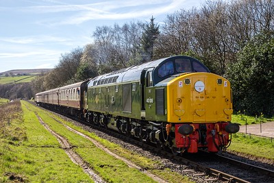 Class 40 Preservation Society's 40 106 pulls away from Irwell Vale on 25th March 2017, whilst working the 12.15 Heywood - Rawtenstall train on the East Lancashire Railway. As D306, this locomotive entered service  in October 1960 and spent her whole working life on the London Midland Region of British Railways, being withdrawn in April 1983. Her condition and appearence are a credit to her former owners and the CFPS. Long may she whistle!