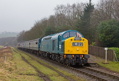 EE Type 4 D345 draws away from Irwell Vale whilst heading the 10.35 Heywood - Rawtenstall train during the ELR Spring diesel gala event...18th February 2017.