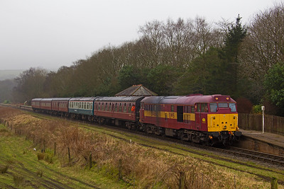 31466 calls at Irwell Vale with the 09.45 Heywood - Rawtenstall on 18th February 2017.  The train should have been headed by the newly painted 40.135 which had been sidelined with an electrical fault.  ELR Spring Diesel Gala.