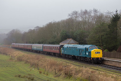 D345 in the early gloom at Irwell Vale with 09.20 Bury - Rawtenstall. ELR Diesel gala 19th February 2017