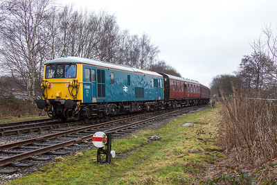 73.001 picks her way carefully out of the sidings at Ramsbottom with the stock that will form the 11.32 local service to Bury. ELR Gala 19th February 2017.