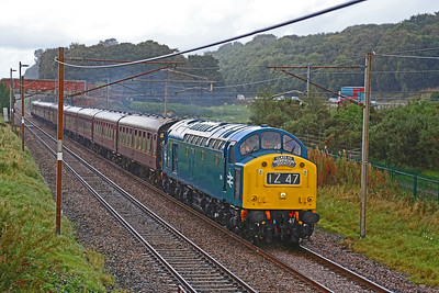 CFPS D345 roars along the WCML in the pouring rain at Woodacre whilst heading 1Z47...the 12.35 Carnforth to Buxton special on 30th September 2016.  The image is 'September' in the Class 40 Preservation society calendar for 2017 :-)