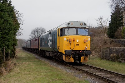 Class 50 No. 50 015 arrives at Irwell Vale with the 14.26 Rawtenstall - Heywood train.  ELR Diesel gala 18th February 2017.  I had a ride behind this loco earlier in the day, which was nice..but not quite the same as when they charged up and down the WCML in the late 60's and early 70's!