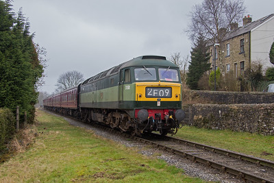 D1501 approaches Irwell Vale with the 14.26 Rawtenstall - Heywood. ELR Gala 19th February 2017.