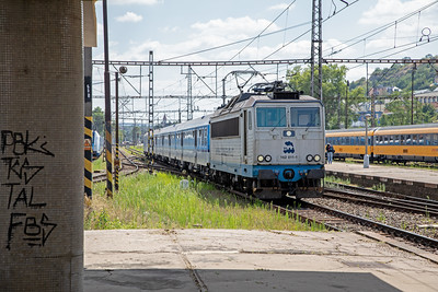 162 011-1 arriving at Praha Smichov with a regional service on 10th July 2019.  The loco livery advertises the CD Rail Museum at Luzna U Rakovnika.
