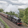45690 'Leander' storms along the Settle - Carlisle line at Helwith Bridge with 'The Fellsman' of 12th june 2018.